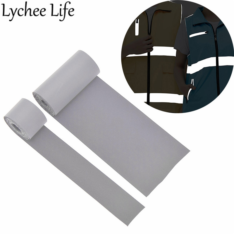 Lychee Life Reflective Tape Fabric Fluorescent Chemical Fiber Fabric DIY Handmade Sewing Clothes Accessories Decoration