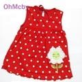 Свободный размер Для 0-2Y Новорожденных Девочек Dress Младенческой Хлопок Одежда Red Dress Лето Одежда Отпечатано Вышивка Девушка Детская Одежда