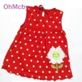 Free size For 0-2Y Baby Girls Dress Infant Cotton Clothing Red Dress Summer Clothes Printed Embroidery Girl Kids Clothing