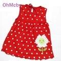 Tamanho livre para 0-2a bebê girls dress infantil algodão vestuário red dress verão roupas impresso bordado roupa da menina crianças
