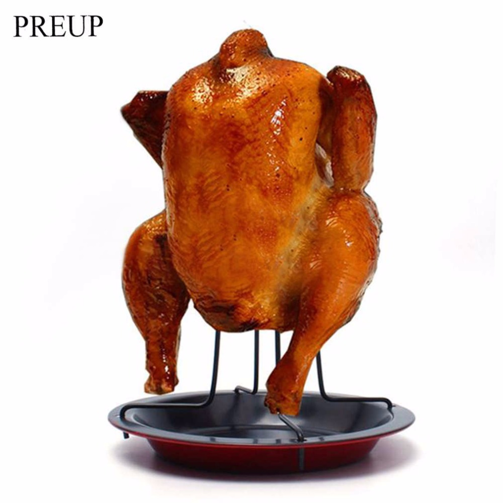 OUTAD Carbon Steel Chicken Roaster Rack With Bowl Tin Non-stick Cooking Tools Baking Pan Barbecue Grilling BBQ Accessories