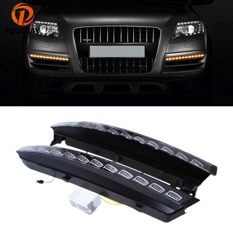POSSBAY LED DRL Car Daytime Running Lights for Audi Q7 (4L) '2005 2006 2007 2008 2009 Pre-facelift White Yellow Turn Signal Lamp