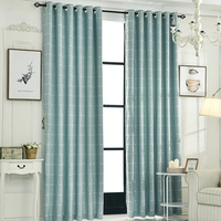 Modern simple living room bedroom curtain room modern decoration solid color lattice color curtain, linen curtains custom