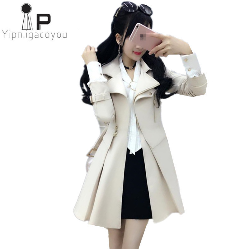 2018 Spring Autumn New Beige   trench   Coat for women Plus size Self-cultivation long coat high quality fashion windbreakers B001