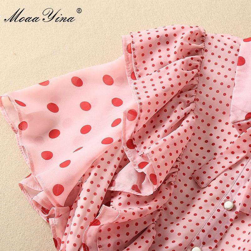 9583ebae926 Flare Vague Piste Point Dentelle Moaayina Vacances D été Élégant Rose Femmes  Ruches Casual Robe Manches ...