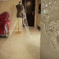 Bling Bling Sequins One-Layer  Bridal Veil New Lace Edge 3 M Length 1.5 Meters Width 1T Cathedral Wedding Veils New 2017