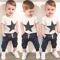 Летние Мальчики Комплект Одежды Лета пятизвездочный Печати Хлопка мальчики Одежда Набор футболка Брюки 2 ШТ. Baby Set одежда