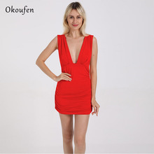 OKOUFEN New European and American Sexy Pleated Sleeveless Deep V Dress Night Club Style Fashionable Backless in 2019