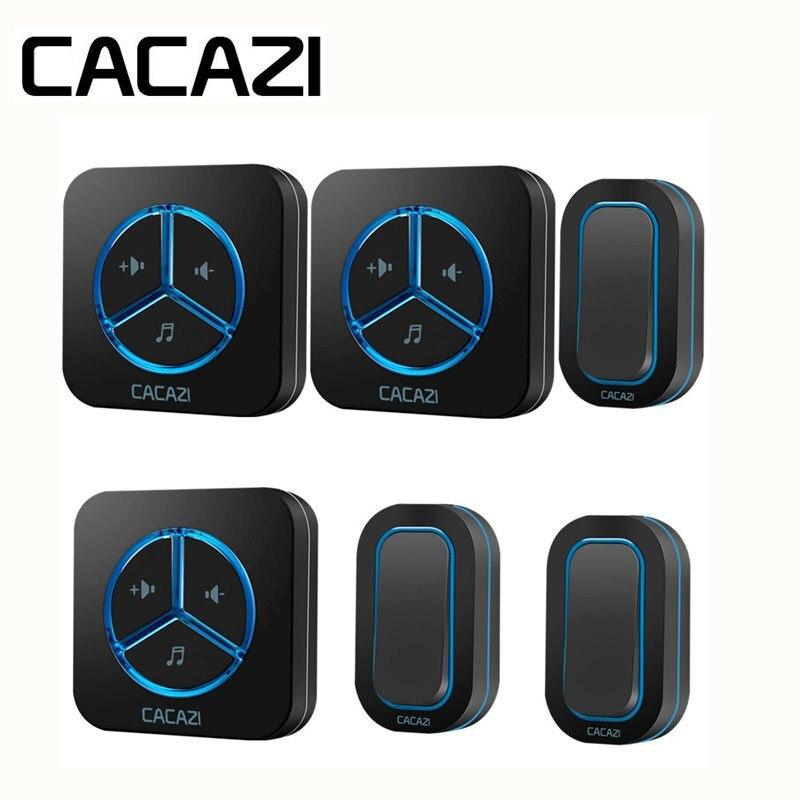 CACAZI Wireless Doorbell Waterproof Receiver Battery Smart Household Button Ring bell 48 Songs Call 280M Remoto US EU UK Plug цены