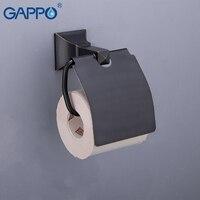 GAPPO Paper Holders Toilet Paper Holder Brass Roll Paper Toilet Roller Hanger Black Holder Paper Wall Mounted Bath Hardware Sets