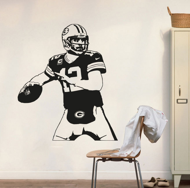 Green Bay Packers Decal Aaron Rodgers Wall Decal Art Decor Sticker Vinyl Poster packers Mural Removable Home Decor WY-14