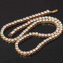 Wholesale Bling Bling Iced Out Tennis Chain 1 Row Necklaces Luxury Brand Gold Color Men Women Chain Fashion Jewelry(China)