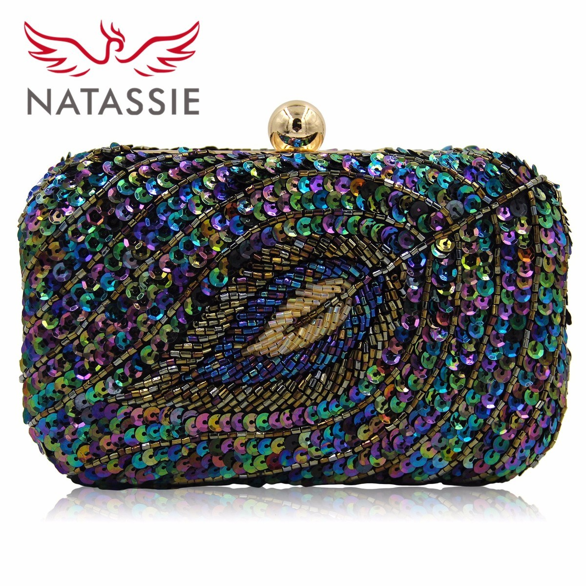 NATASSIE New Design Ladies Evening Bag Women  Sequined Beaded Wedding Party Floral High Quality Clutch With Chain natassie new design luxury crystal clutch women evening bag gold red ladies wedding banquet party purses good quality