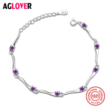 Geometry Genuine Mystical Purple CZ Crystal Bracelet Solid 925 Sterling Silver Vintage Gift For Women Jewelry