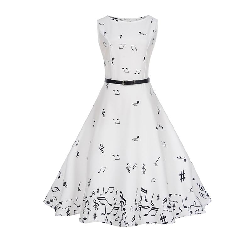 Music Note Long White Summer Dress