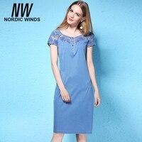 นอร์ดิกลมสตรีขนาดบวกกางเกงยีนส์ชุด4XL Oคอสั้นแขนHollowออกดอกไม้สาวตรงของแข็งสีฟ้ากาง