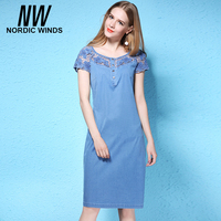 Nordic Winds Womens Plus Size Denim Dress 4XL O Neck Short Sleeve Hollow Out Flower Girls Straight Solid Blue Jeans Dresses 2017