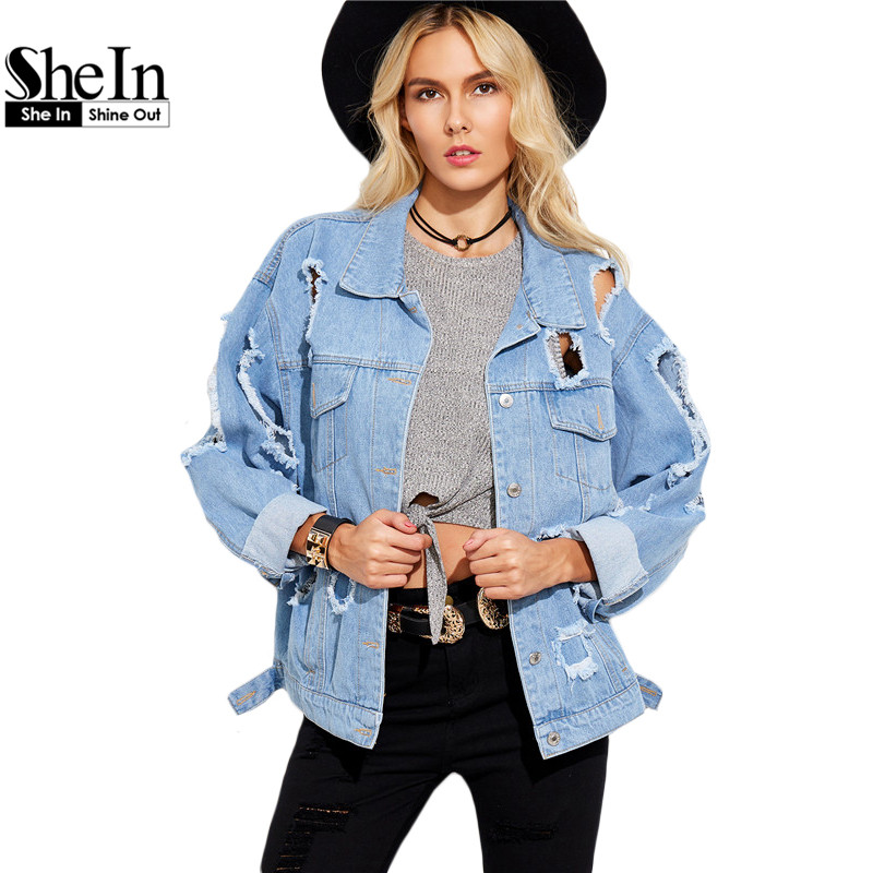 834c044bcf9d SheIn Autumn Casual Jackets For Women Blue Lapel Long Sleeve Single Breasted  Hollow Boyfriend Ripped Denim Jacket-in Basic Jackets from Women's Clothing  & ...