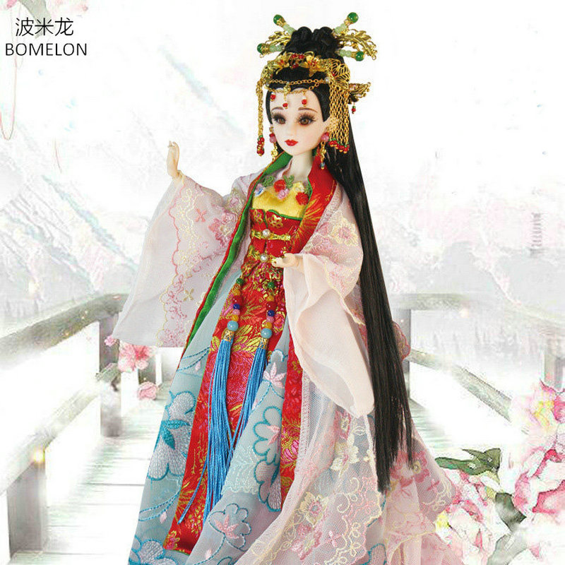 Original Handmade Chinese Costume Dolls 34CM Bjd Doll Tang Beauty Doll 12 Jointed Articulated Doll Girl Toys Gift Brinquedos handmade ancient chinese dolls 1 6 bjd jointed doll empress zhao feiyan dolls girl toys birthday gifts