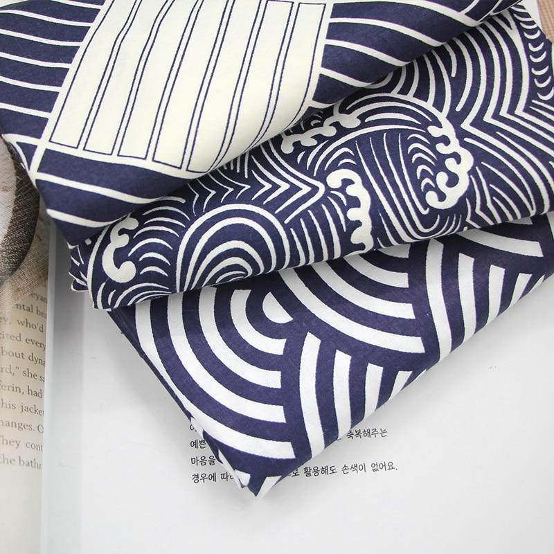 Japanese Wave Print 100% Twill Cotton Fabric Patchwork Tissue DIY Handmade Sewing Craft  ...