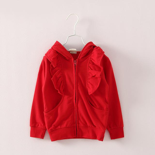 Sl-96, otoño muchachas de los niños sudadera, con capucha de manga larga, cremallera ruffles frente, color sólido