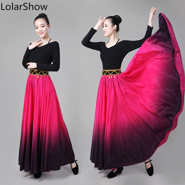 a6863d6ea € 13.69 11% de DESCUENTO|Aliexpress.com: Comprar Falda de baile para mujer  falda de baile Flamenco falda de danza del vientre traje de actuación ...