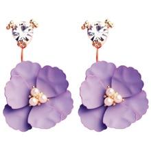 14f6f2db6ccc 1 par elegante Camelia flor rosa púrpura Yellowe Crystal Rhinestone Stud pendientes  mujer oro Color joyería Bijoux regalo de bod.