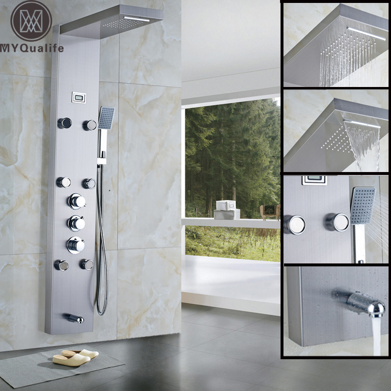 Rain Waterfall Shower Panel 6pc Massage Jets Thermostatic Shower Faucet with Hand Shower Tub Spout Tower Shower Column shower set wall mounted massage jets thermostatic mixer valve bathroom spa panel faucet led ceiling shower head rain mist bubble