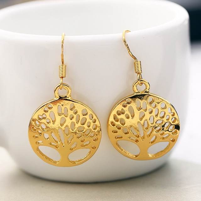 Silver Gold tree of life jewelry set