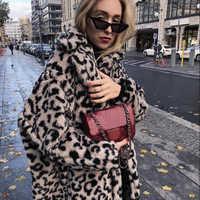 fc667f781aff8 Роскошные Модные леопардовые длинные Тедди куртки в виде медвежонка пальто  для будущих мам для женщин 2018