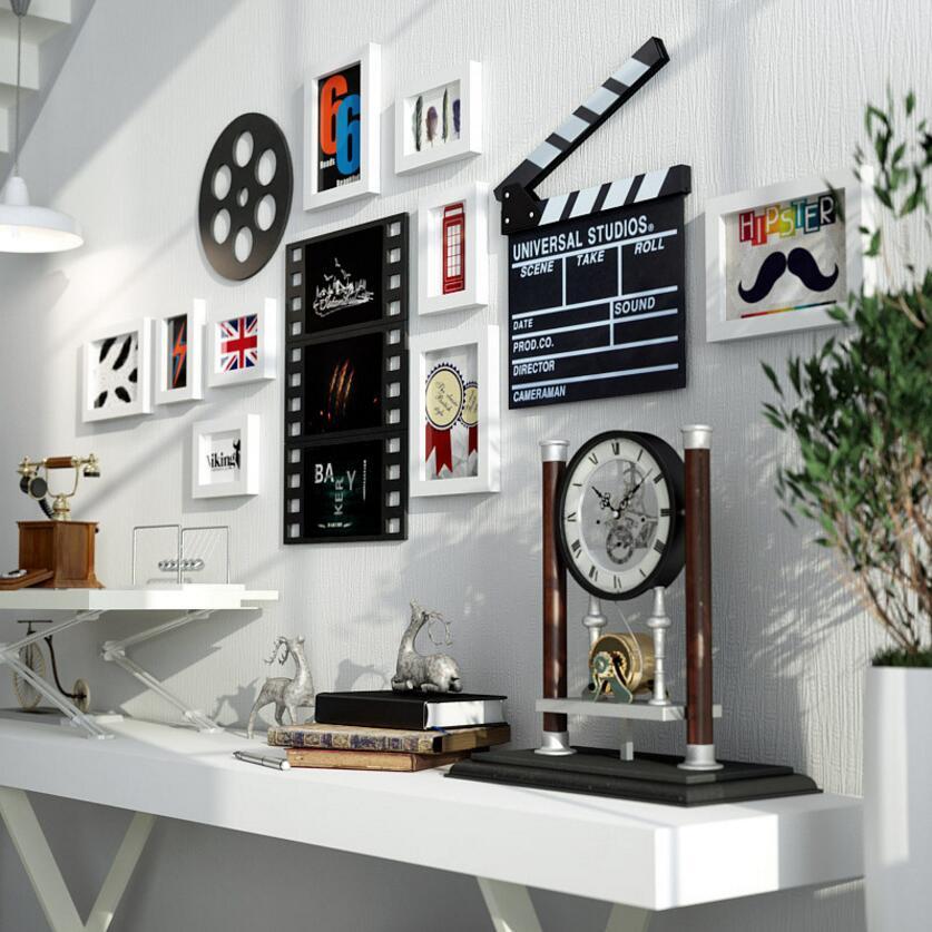 Multi-cadre salle Restaurant moderne Simple Photo mur rectangulaire cinéma peinture décorative bois cadre Photo montage mural