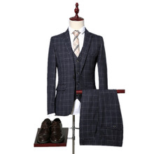 jacket+pants+vest 2017 High high quality plaid marriage ceremony fits males,blazer males,marriage ceremony costume,stripe males's Dress fits,measurement M-XXXL