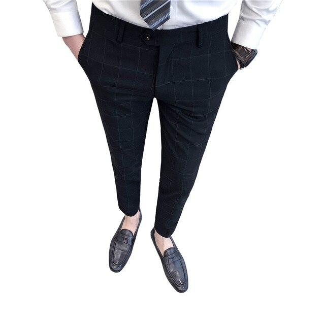 2018 Новая мода Для мужчин s Бизнес формальный костюм брюки Slim Fit Дизайн Для мужчин брюк брюки социальных Брюки Для мужчин s тонкий fit