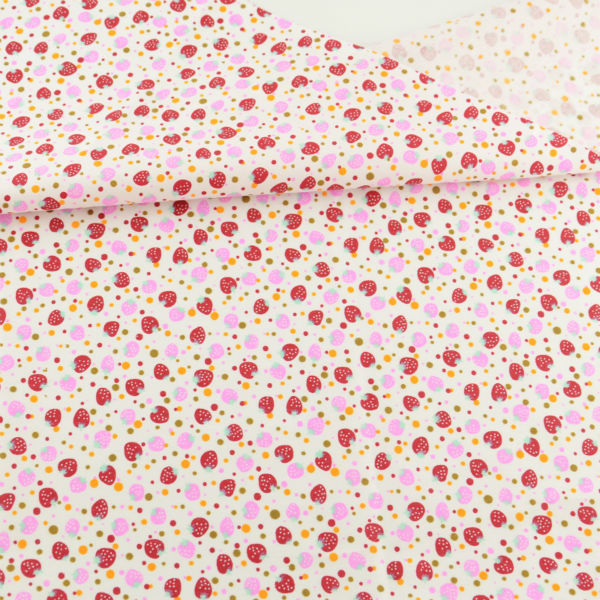 Precioso Rojo y Rosa Fresa Diseños Textiles Para El Hogar Tela de Algodón Fat Qu
