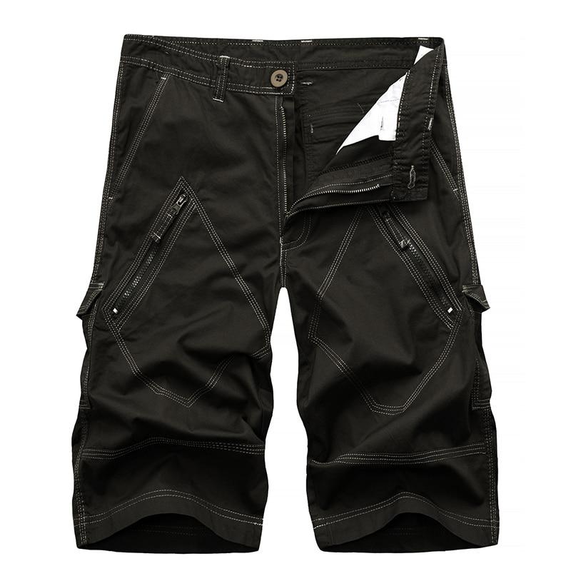 Men Cargo Shorts Bermuda Homme Male Fashion Shorts Cotton Washed Short Trousers With Zippers Drop Shipping ABZ144