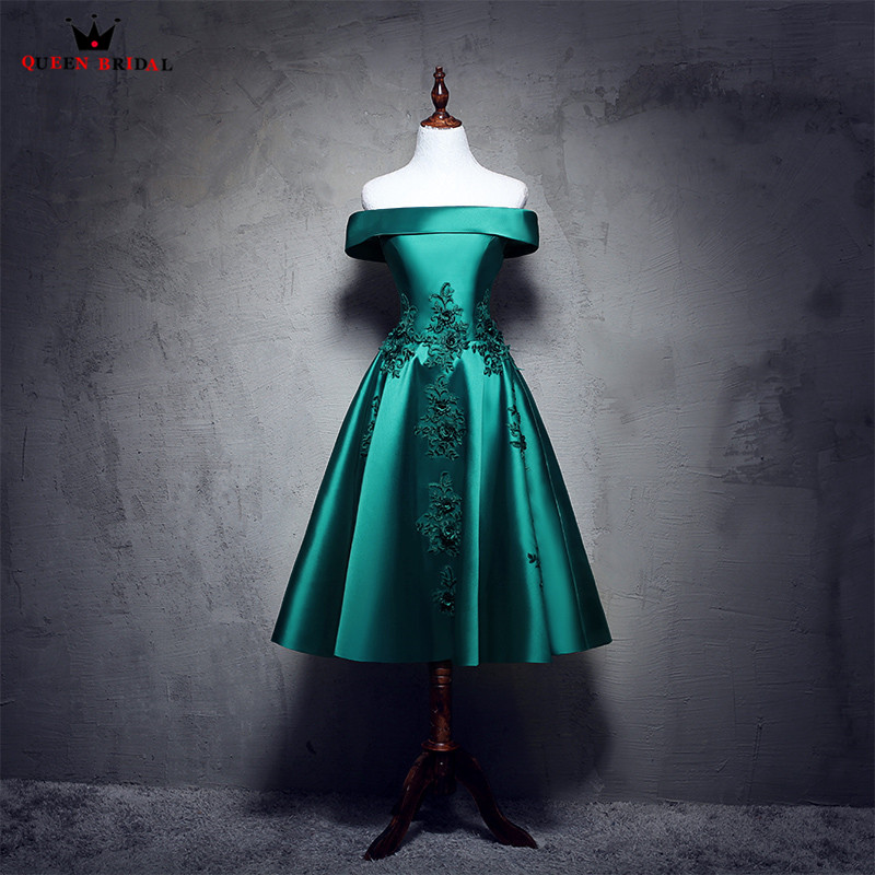 A-line Cap Sleeve Satin Flowers Beaded Short Formal Green Evening Dresses 2018 New Party Dress Evening Gowns Robe De Soiree NM03
