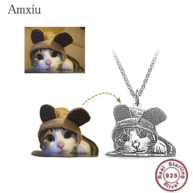 Amxiu Customized Pet Picture Necklace DIY 925 Sterling Silver Necklace Personalized Dog Cat Photo Necklaces Engrave Name Jewelry