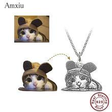 Amxiu dostosowane Pet Picture naszyjnik DIY 925 srebro naszyjnik spersonalizowany pies kot zdjęcie naszyjniki wygrawerować biżuteria z pierwszą literą imienia