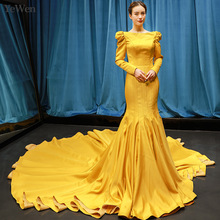 YEWEN Simple Long Gold Mermaid Evening Dresses Elegant