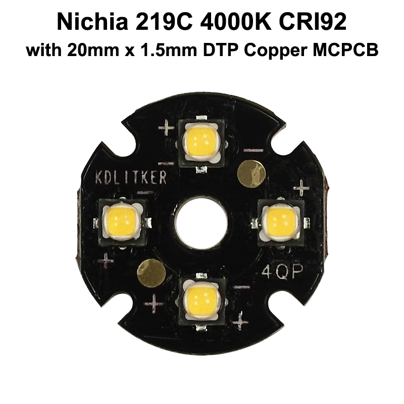 Quad Nichia 219C 4000K CRI92 LED Emitter With KDLITKER 20mm X 1.5mm DTP Copper PCB (Parallel) W/ Optics