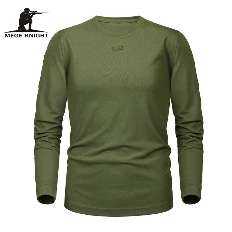 MEGE Brand Tactical Military Clothing Men's Shirt Dropshipping Solid Coolmax Quick-drying Long Sleeve Army Casual Male Tee Shirt
