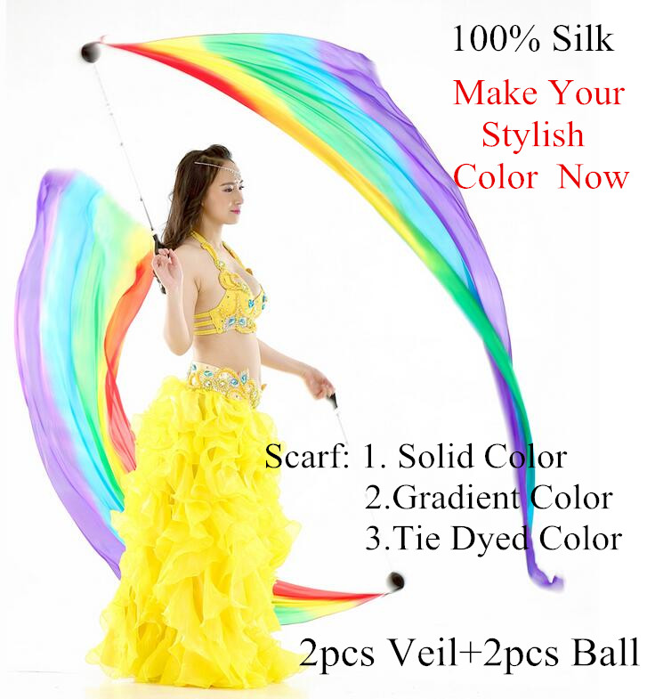 Ruoru 100% Silk One Pairs = 2 Pieces Belly Dance Led Fans Veil Led Belly Dance Silk Fan Veil Rainbow White Dance Props Costumes Belly Dancing