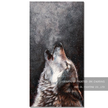 Expert Artist Pure Handmade High Quality Wolf Howling Oil Painting on Canvas Modern for Living Room Decoration