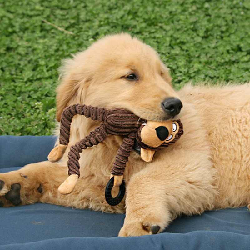 Zabawki dla psów pluszowa zabawka miękka zabawka mała małpka Jouet Chien rzeczy gryzaki pluszowy szczeniak pluszowy dźwięk owca małpa krowa głupi zwierzak