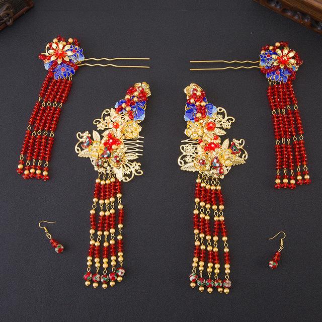 Conjuntos de Jóias de Casamento Cocar de Noiva Acessórios Para o Cabelo Chinês clássico Banhado A Ouro Brincos de Cristal Vermelho Grampos Agitação Passo