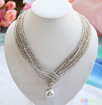 "Free shipping@@@@@   P4582 3row 40"" faceted smoky quartz crystal 20mm shell pearl pendant necklace"