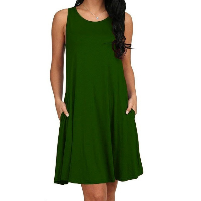 Women Casual Summer Dress Plus Size O-neck Tank Top Loose Clothing Side Pocket Fashion Sexy Ladies Solid Sleeveless Dresses 5XL 2