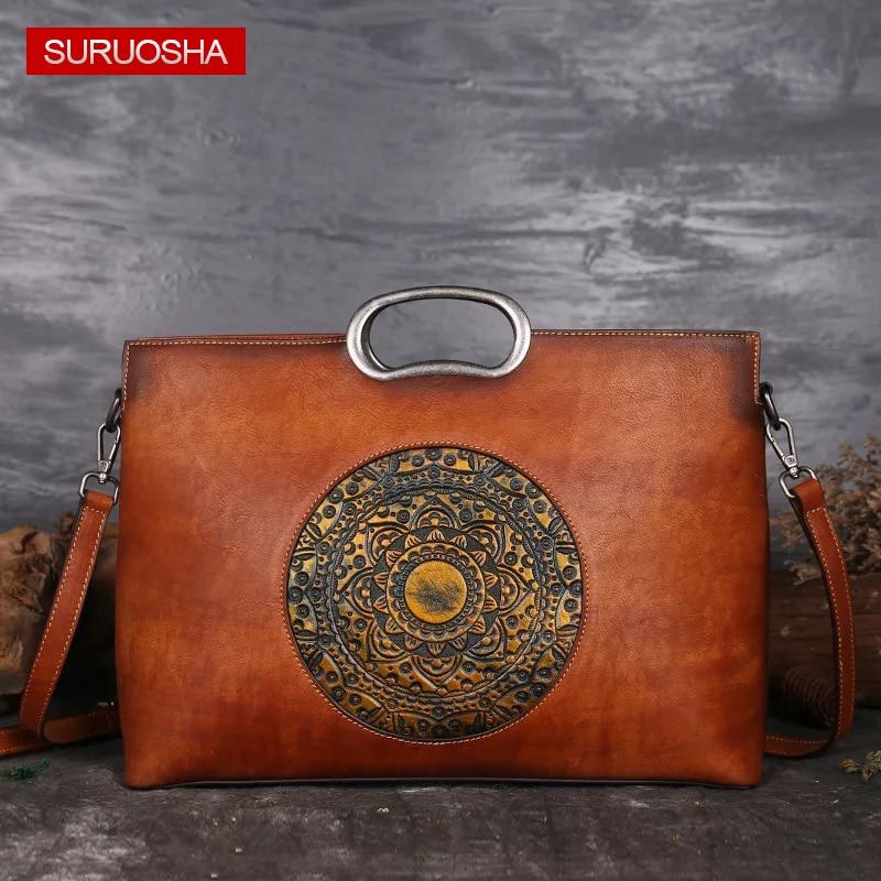 Luxury Women Genuine Leather Handbags A4 Large Retro Elegant Shoulder Messenger Bag Tan Leather Handmade Womans Bags with Totem