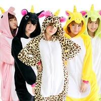 Cute Family All In One Flannel Anime Unicorn Pijama Cartoon Warm Sleepwear Hooded Homewear Women Funny
