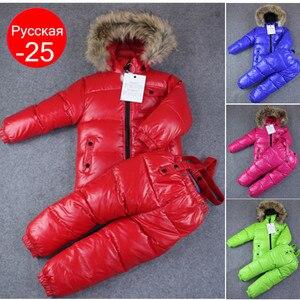 Image 1 - 2020 зимний комплект для маленьких мальчиков, детская одежда на белом утином пуху для девочек, пальто + штаны, комплект одежды, детская зимняя одежда